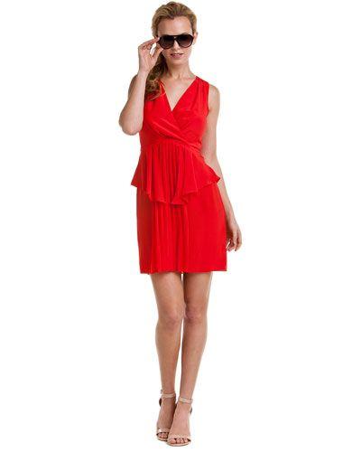 Greylin Red Pleated Peplum Dress