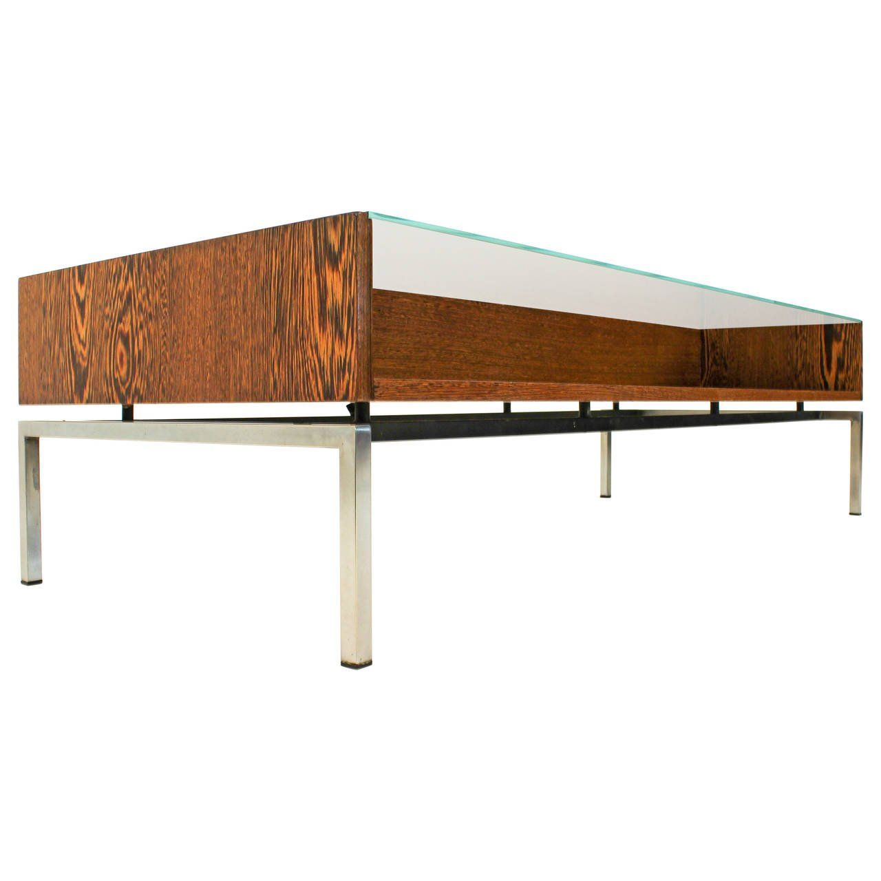 Stylish MidCentury Modern Coffee Table With Glass Top 1960s