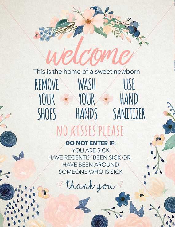Newborn Wash Hands Welcome Sign Instant Download Only Front Door
