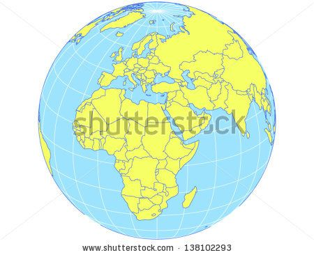 Vector world map in orthographic projection as globe centered on vector world map in orthographic projection as globe centered on europe and africa eps10 file gumiabroncs Choice Image