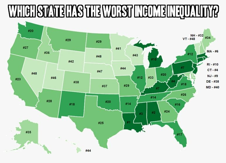 This Eye Opening Map Shows Which States Have The Highest Income Inequality Movoto Real Estate Blog Map Usa Map Rapid City