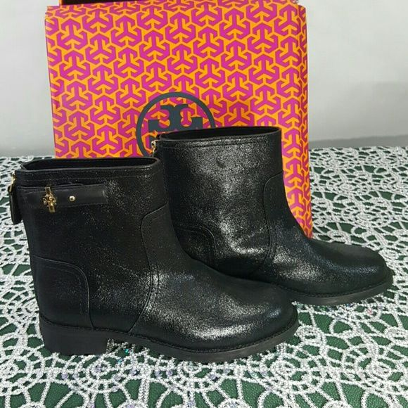 Nwt authentic tory Burch  black Selena booties Distressed suede,  with gold emblem on sides , can be dressed up or down,  box is somewhat torn, these are brand new, Tory Burch Shoes Ankle Boots & Booties