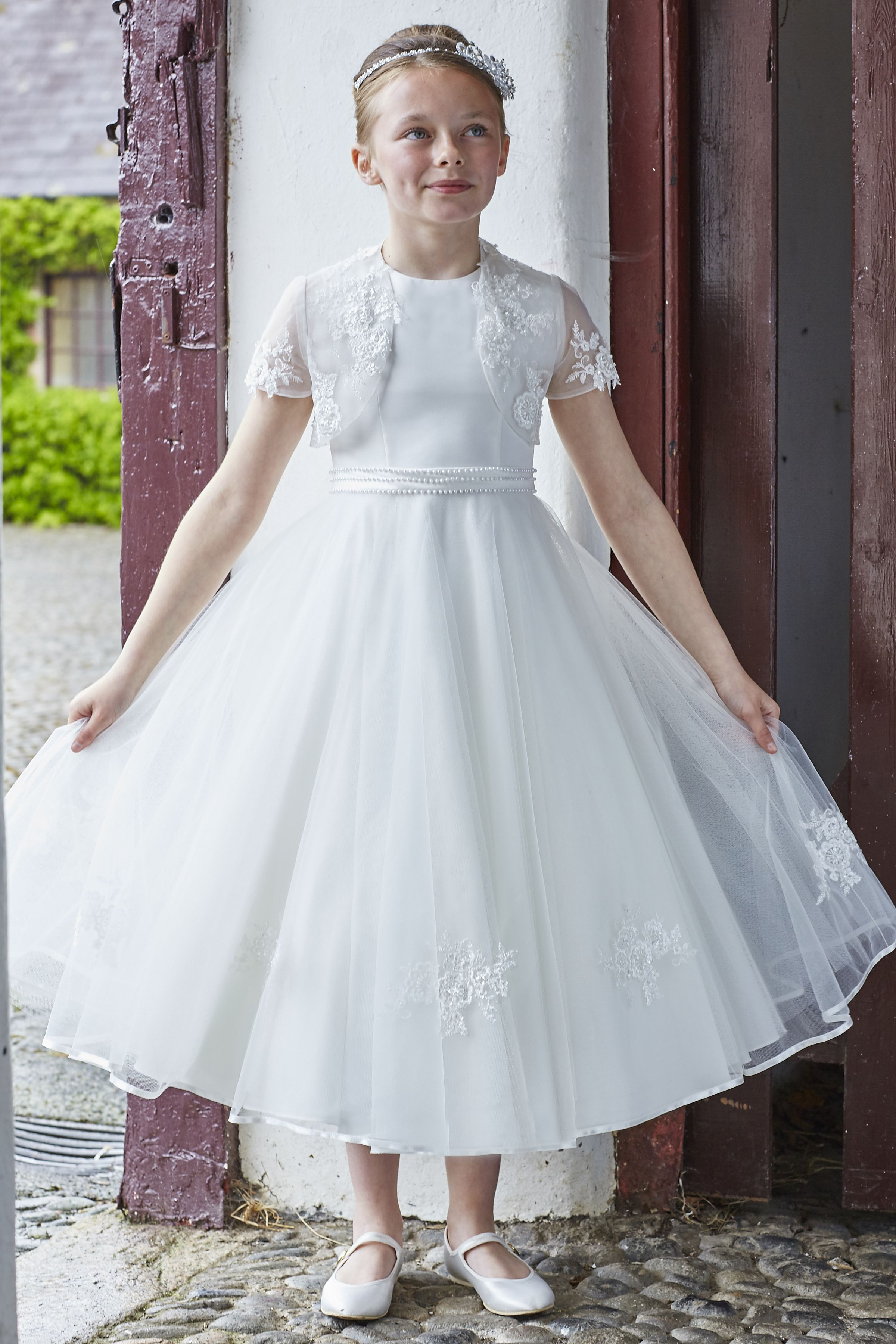 Ivory Communion Dress With Pearl Waistband First Communion Dresses Communion Dresses Dresses [ 3600 x 2400 Pixel ]