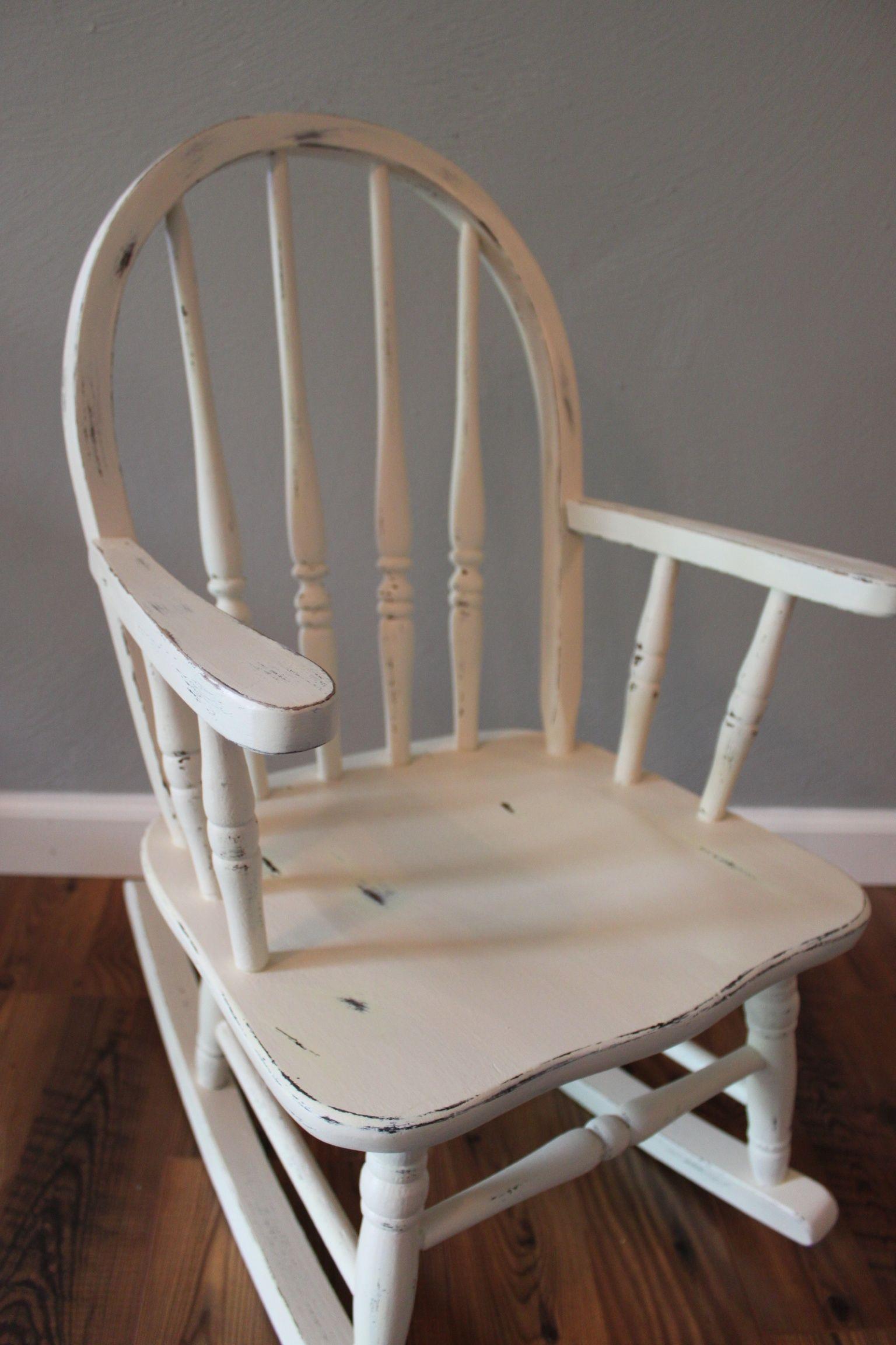 Antique White Distressed Children S Rocking Chair