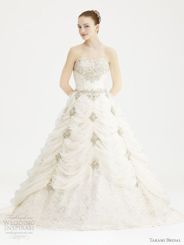 """""""Sanchez"""" strapless wedding gown with crystal accents from the Royal Wedding collection by Takami Bridal."""