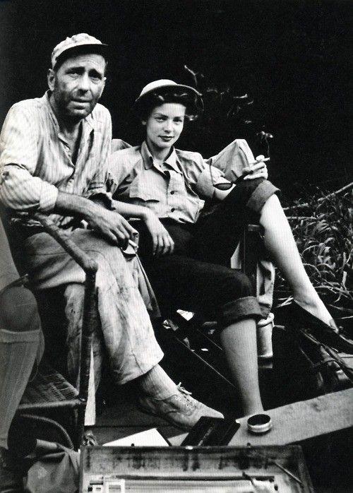 Lauren Bacall and Humphrey Bogart on the Ste of African Queen