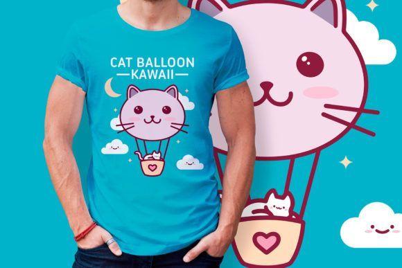 Cat Balloon Kawaii Vector T-shirt Design (Graphic) by vectorwithin · Creative Fabrica