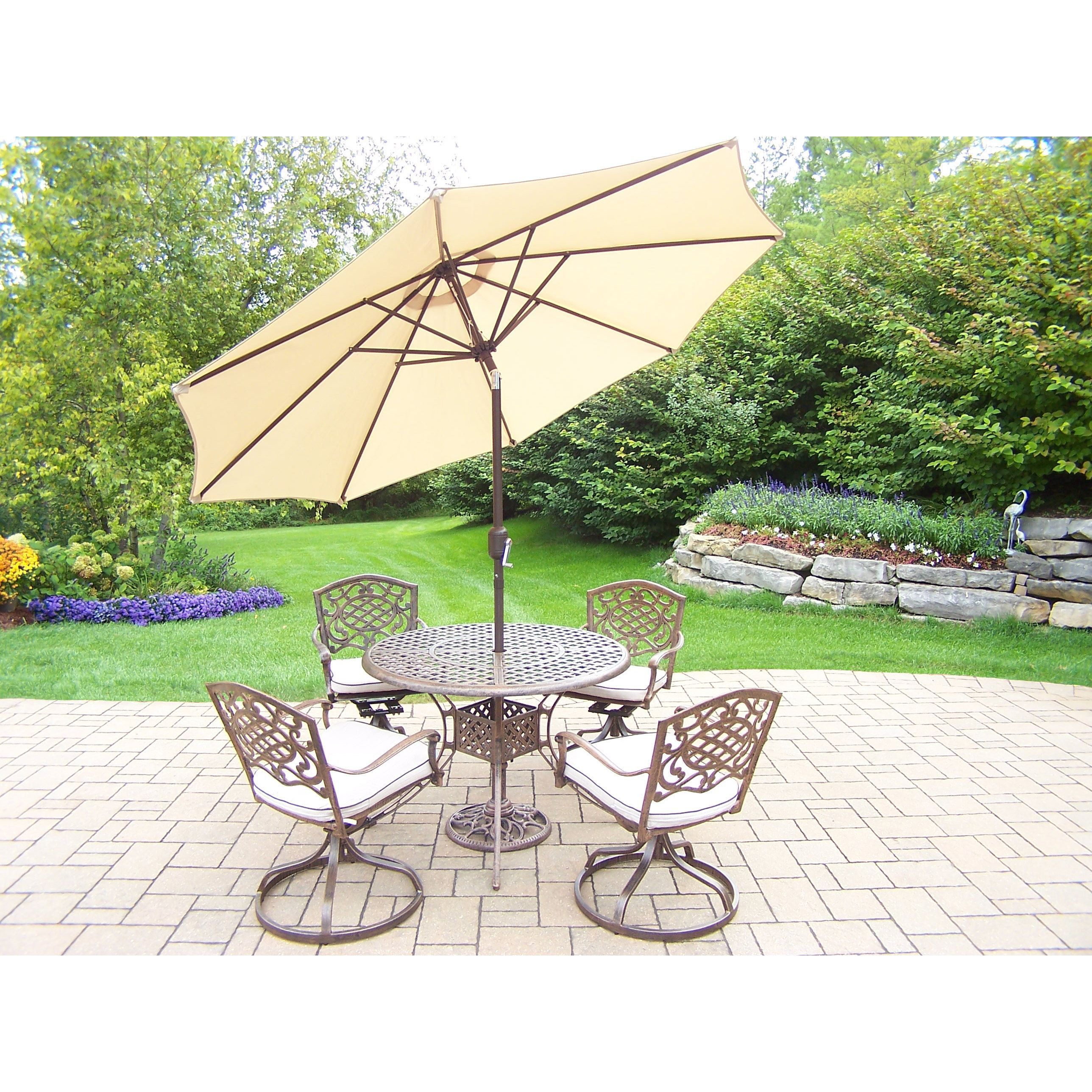 Oakland Living Corporation Dakota 7-Piece Dining Set with 42-in. Table, 4 Swivel Rockers, Umbrella, and Metal Stand