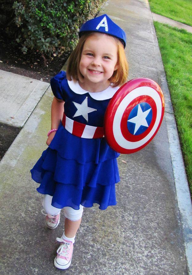Captain America | 20 Superheroes Whose Secret Alter Egos Are Adorable Little Girls