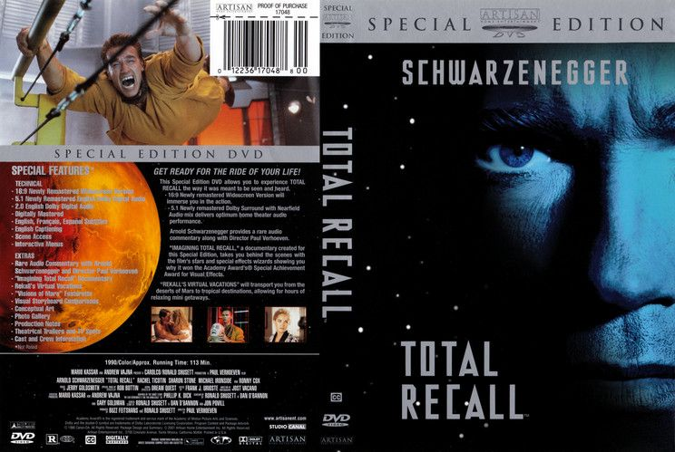 Total Recall Scanned Dvd Cover Total Recall Arnold Schwarzenegger Arnold Schwarzenegger Movies
