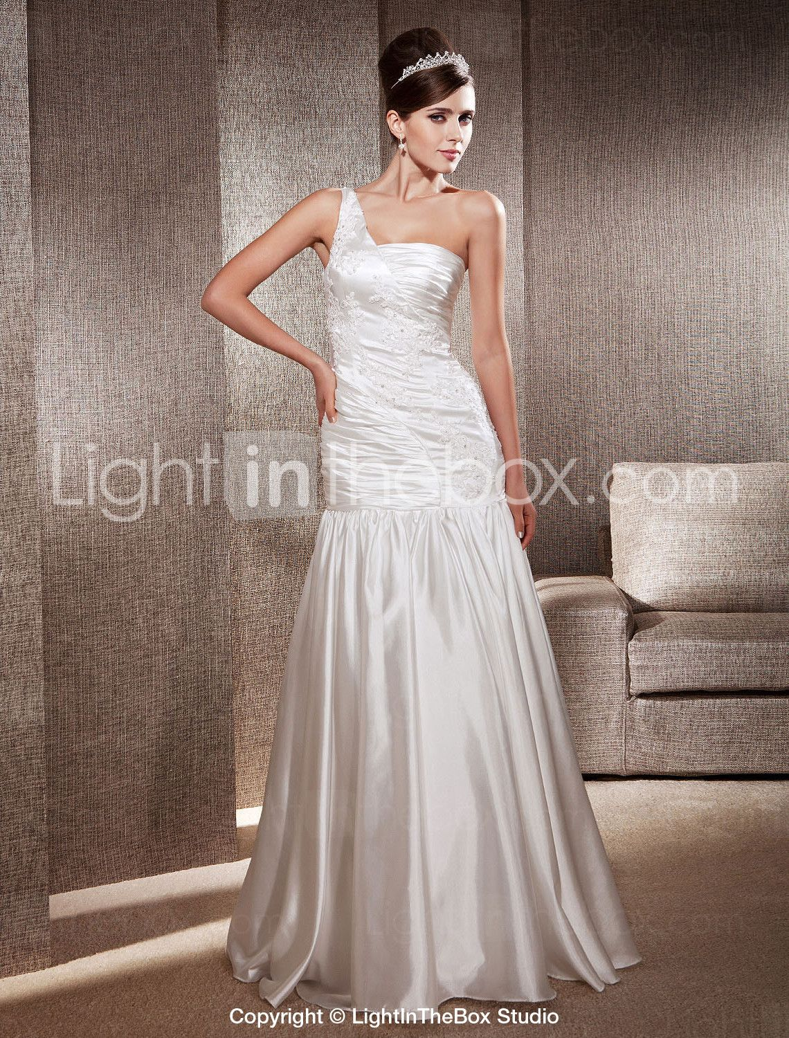 Lightinthebox wedding dresses  TrumpetMermaid One Shoulder Floorlength Elastic Woven Satin