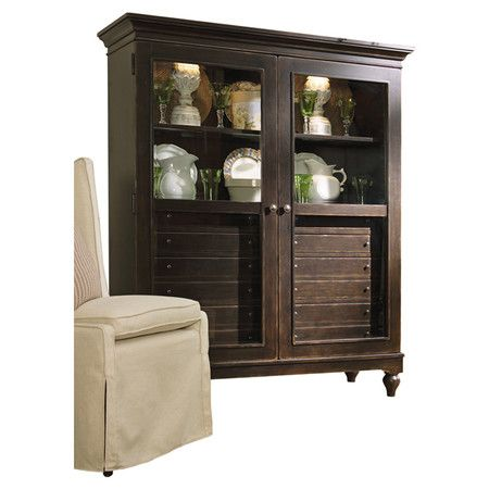 Glass Door China Cabinet With Canister Lighting And An