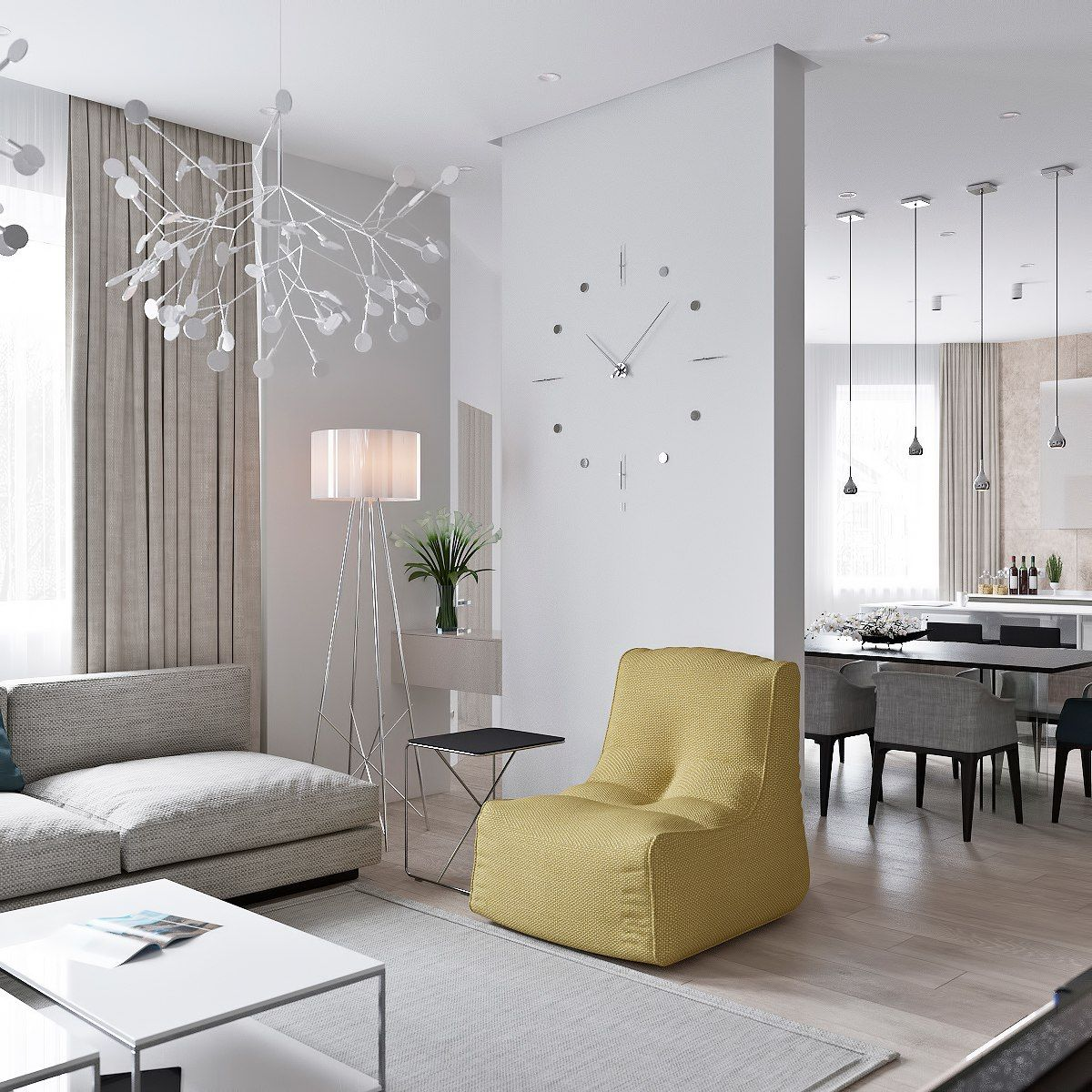 3 Light Interiors With Creative Pops Of Color | Wohnzimmer, Salons ...