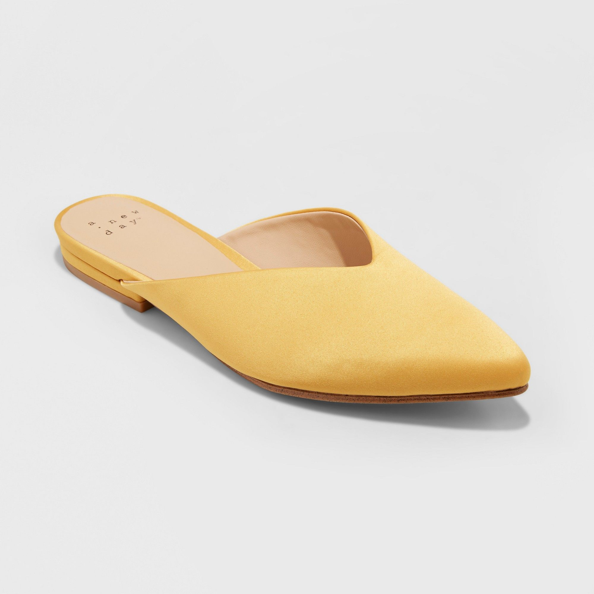 64e3c1d94934 Women's Lan Faux Satin V Throat Backless Mules - A New Day Gold 9 ...