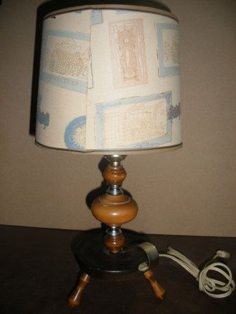 Vintage wooden 3 legged table lamp t64 by jewelcard on etsy 22 00