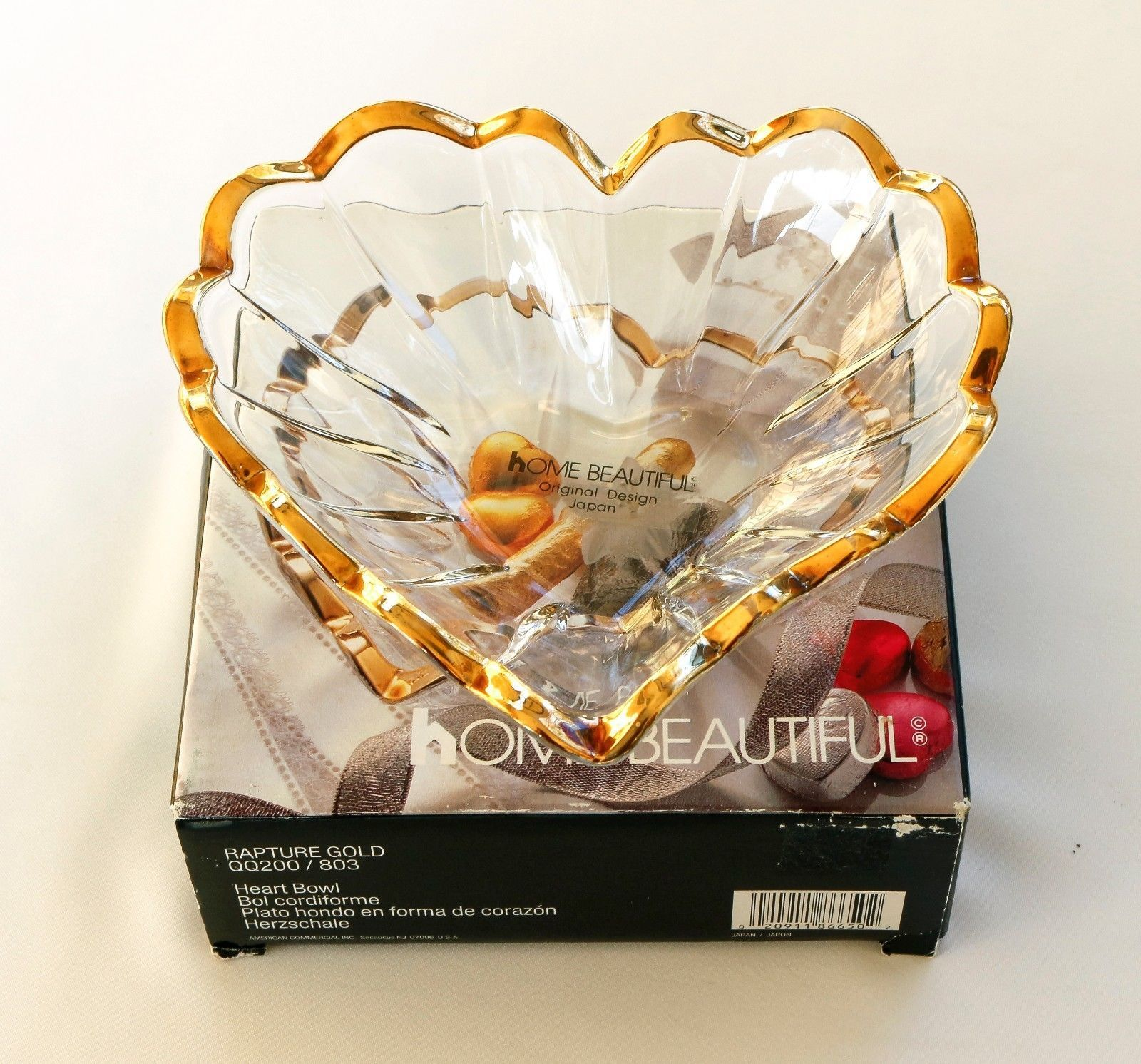 Vintage Crystal Heart Bowl Made In Japan By Home Beautiful | EBay