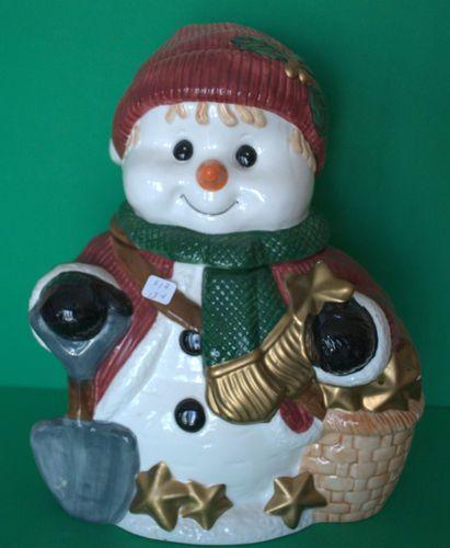 "Vintage Collins Ceramic Snowman Cookie Jar Christmas 12"" | eBay"