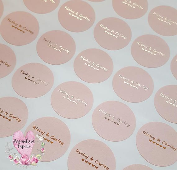 Rose Gold Wedding Stickers Foil Wedding Stickers Blush Personalised Favour Stickers Wedding Favor Labels Custom Wedding Stickers D9 In 2020 Custom Wedding Stickers Rose Gold Wedding Wedding Stickers