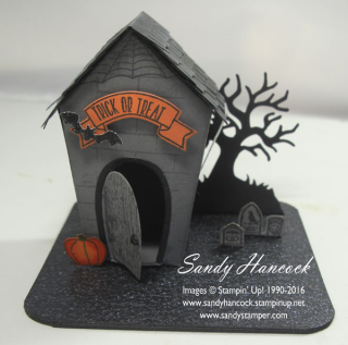 Coaster-mounted scene by Annie: Sweet Home, Spooky Fun, Home Sweet Home Thinlits, Halloween Scenes Edgelits - all from Stampin' Up!