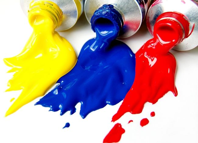 Acrylic Paint In Bottles Red Blue Yellow Black And
