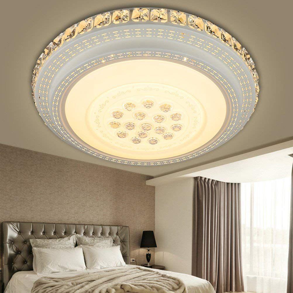 LED Deckenleuchte Dimmbar Lampe Wohn Schlaf Zimmer Raum Fernbedienung Kristall