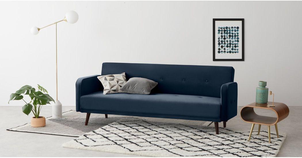 Made Schlafsofa Blau Sofa Bed Design 3 Seater Sofa Bed Velvet