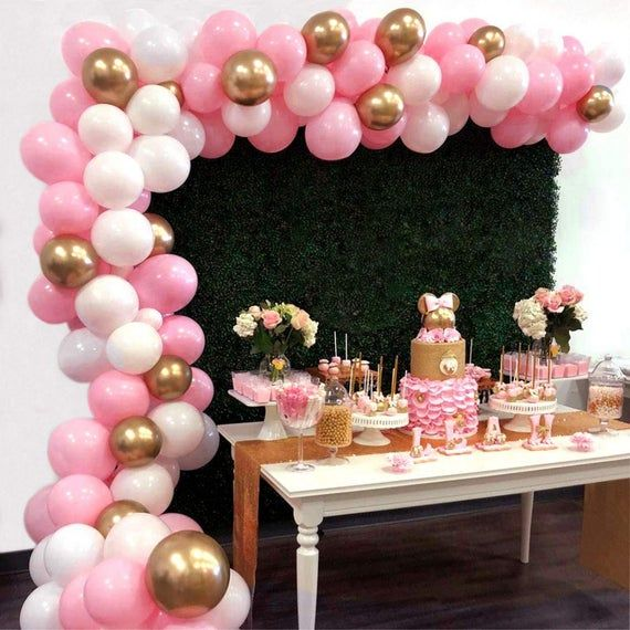 Pink Gold Balloon Garland Arch Kit Backdrop 16Ft Balloon Arch Kit Birthday Baby Shower Backdrop Bachelorette Party Centerpiece Background
