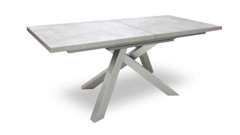 table beton de salle manger effet b ton et pied inox. Black Bedroom Furniture Sets. Home Design Ideas