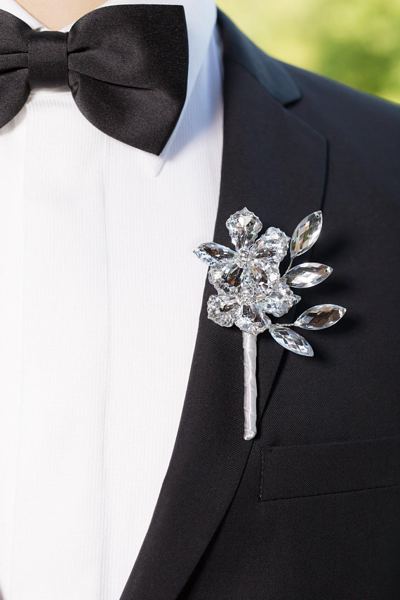 6e09d09fc Wedding Boutonniere, Mens Boutonniere - Charles Boutonniere with ...