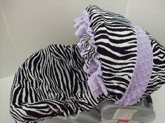 Black and white zebra print/lavender minky dots ruffle and canopy band/infant car seat slip cover set & Black and white zebra print/lavender minky dots ruffle and canopy ...