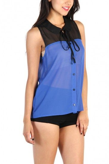 LoveMelrose.com From Harry & Molly | Color Block Tie Front Button Down Tank Top- Black/ Blue Violet