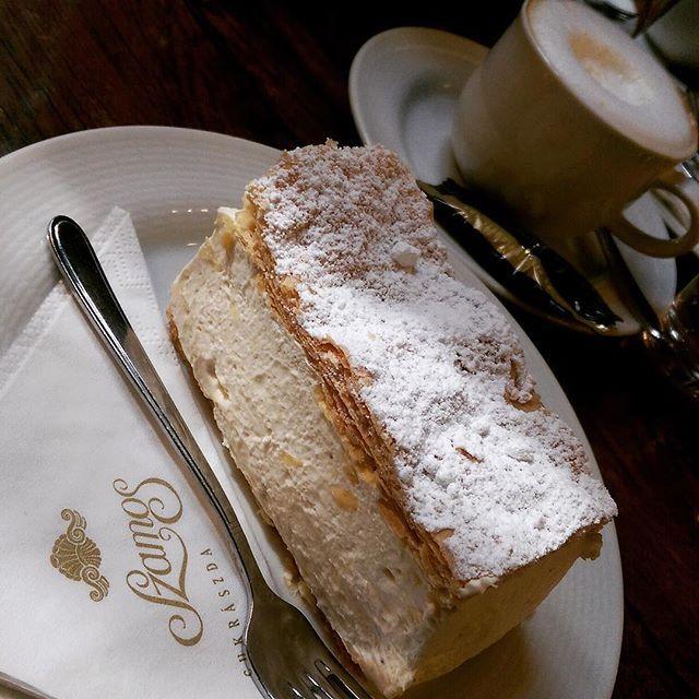 Kremes (cream-filled pastry) (Szamos, Budapest) @food @thefeedfeed  #dessert #pastry #kremes #snackcity #cappuccino #feedyoursoul #sugar #thephoneeatsfirst #breakfast #heresmyfood #snackcity #sweet #instagood #instamood #photooftheday #love #LikeFoodLA #amazing #instadaily #food #budapest #yummy #cream #foodblogfeed #foodphoto #foodporn #tasty #delicious #TGTBTF