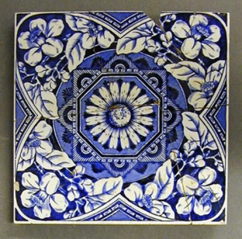 Craven Dunnill And Co Transfer Printed Dust Pressed Tile Stylised Floral Design 6 Square C1895 This Design Is A Cl Ancient Tiles Tile Art Floral Design
