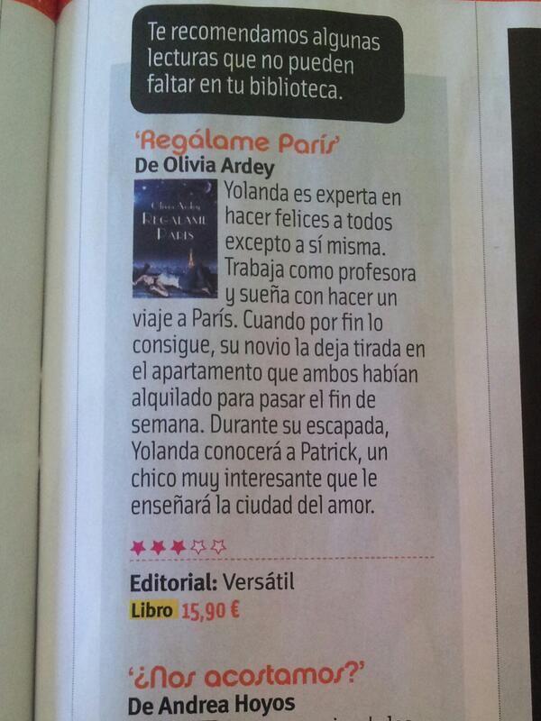 REGÁLAME PARÍS, recomendada en la revista CUORE