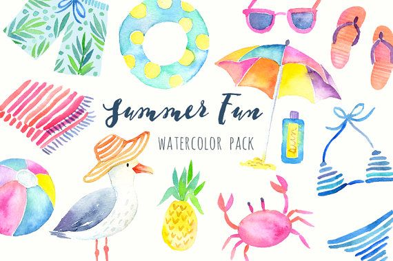 Watercolor Summer Clipart Beach Clipart Tropical Graphics Printable Hand Painted Clipart Diy Cards Scrapbook Digital Clip Art Hand Painted Watercolor Clip Art