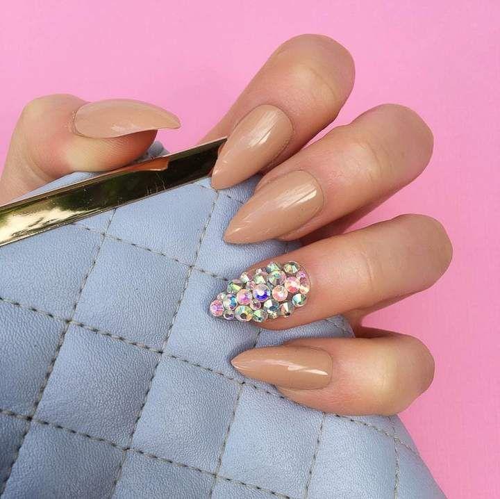 Doobys Nails Neutral Diamante Ring Stiletto False Nails. #Diamante ...
