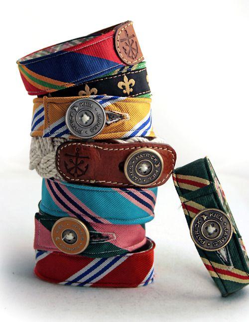 Bracelets from old ties. Very cute!