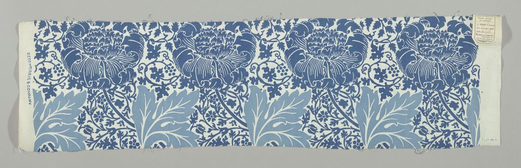 Textile, 'Kennet' | United Kingdom, 1883 | Medium: cotton Technique: printed on plain weave | Large flower heads leaning left, and large leaves, on a ground of small-scale, all-over design of flowering vines. In two shades of blue on a white ground | Cooper-Hewitt