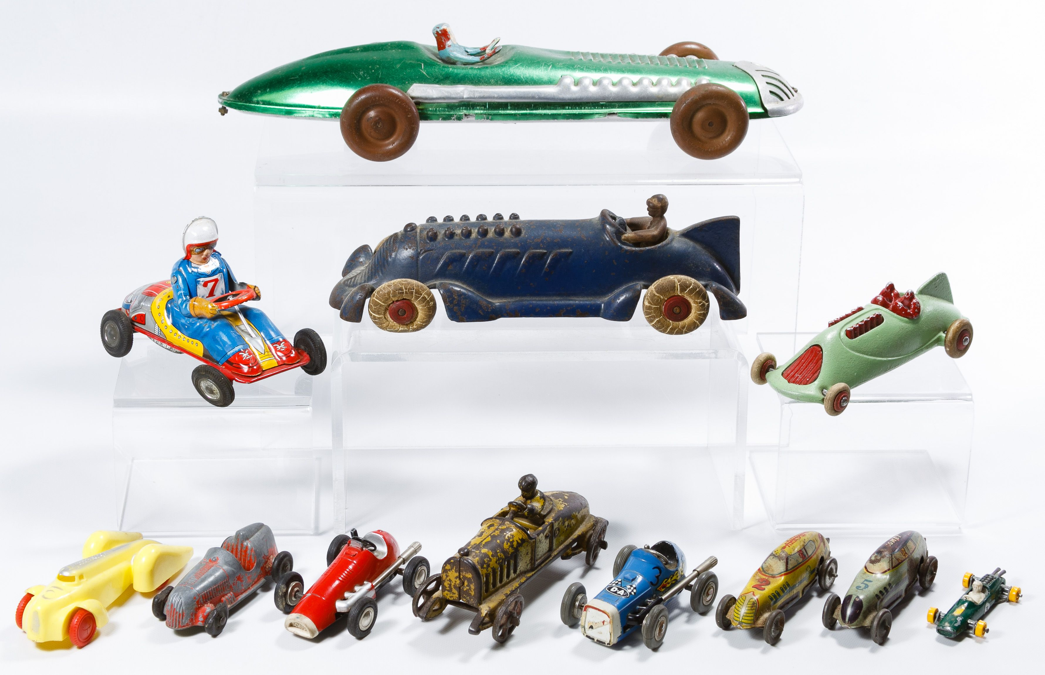 Lot 548: Metal and Rubber Toy Race Car Assortment; Twelve items including examples made in Japan and by Schuco, Tootsietoy, Speed King and Marx