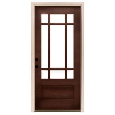 Beau Steves U0026 Sons Craftsman 9 Lite Stained Mahogany Wood Entry Door   M3109 2