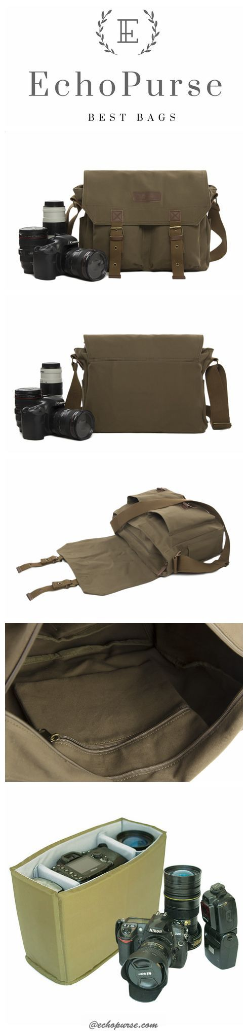 Canvas DSLR Camera Bag, Professional SLR Camera Purse Fit Canon Nikon F1003 #camerapurse