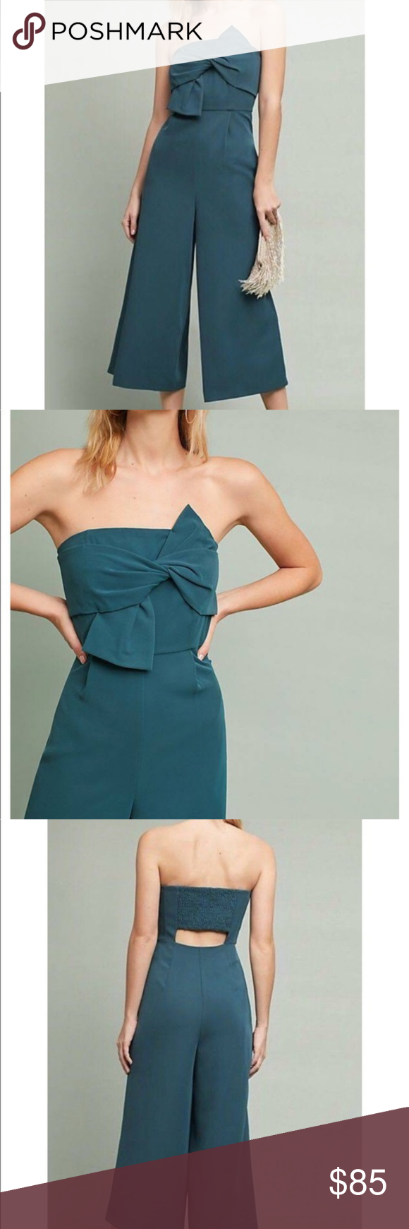 4e762c4776e0 Anthropologie Hailee C Strapless Bow Crop Jumpsuit Anthropologie Hailee C  Strapless Bow Front Green Crop Flare Jumpsuit Brand new with tags!