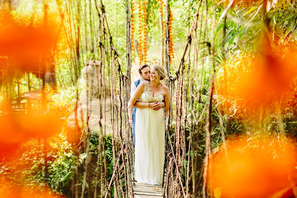 Colourful Wedding In Indonesia At Luxury Eco Hotel Bambu Indah With Bride In Anna Campbell Gown And Groom In Electric Blue Suit By Racing Green With Images From Bonnie Jenkins