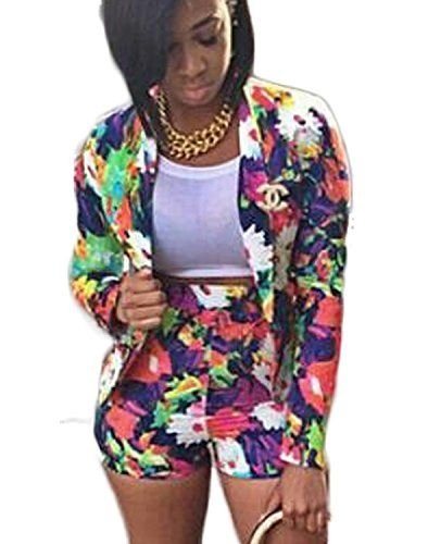 ef043fbf22 Women s Suiting - New2World Womens Two Piece Floral Mini Short Jackets  Elegant Laper Party Sexy Set   Check this awesome product by going to the  link at the ...