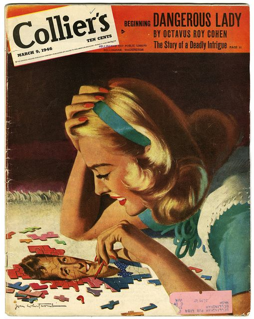 How delightfully charming is the beau puzzle on this 1946 Collier's cover? #vintage #1940s #forties #magazines #Colliers