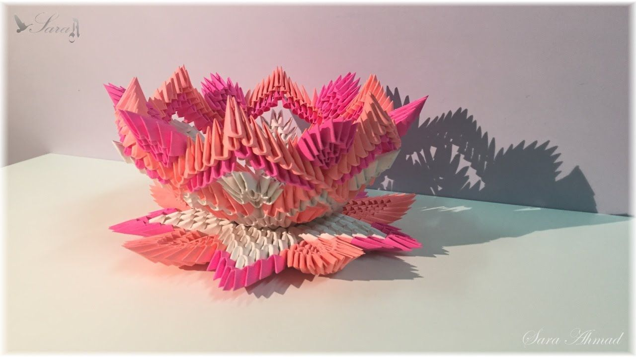 How To Make 3d Origami Lamp Flower 4 Part 2 3d Origami Modular Origami Origami Lamp