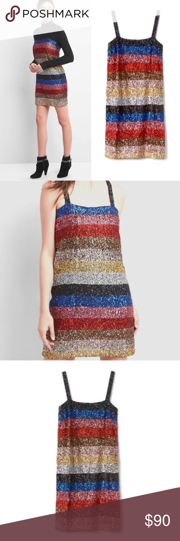 49c62b4b NWT GAP Crazy Stripe Sequin Sleeveless Shift Dress NWT GAP Crazy Stripe  Sequin Shift Dress.