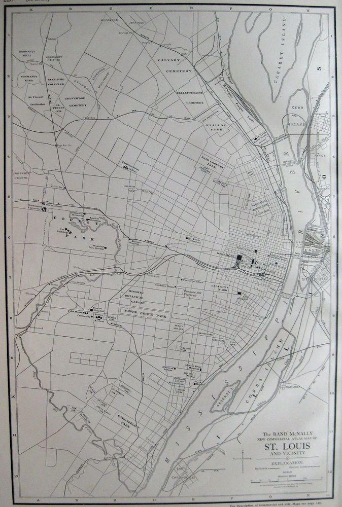 1916 Antique Map of ST LOUIS Missouri Poster Print RARE SIZE St ...