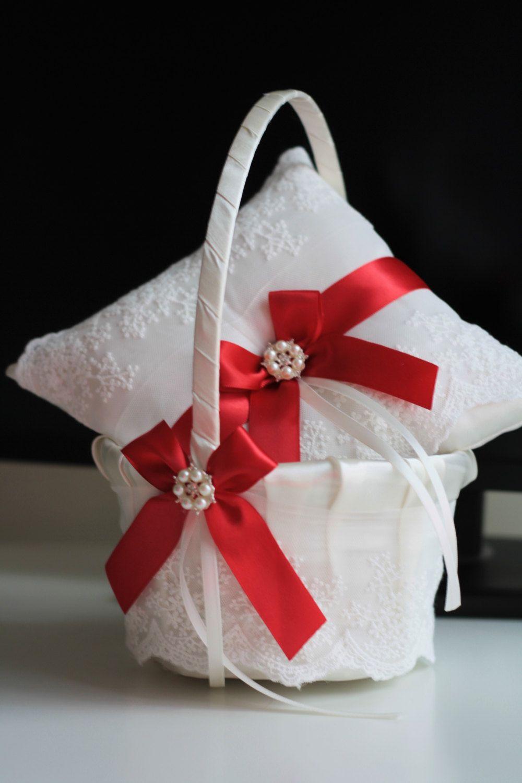 Mint Wedding Flower Girl Basket + Ring Bearer Pillow \\ Lace green ...