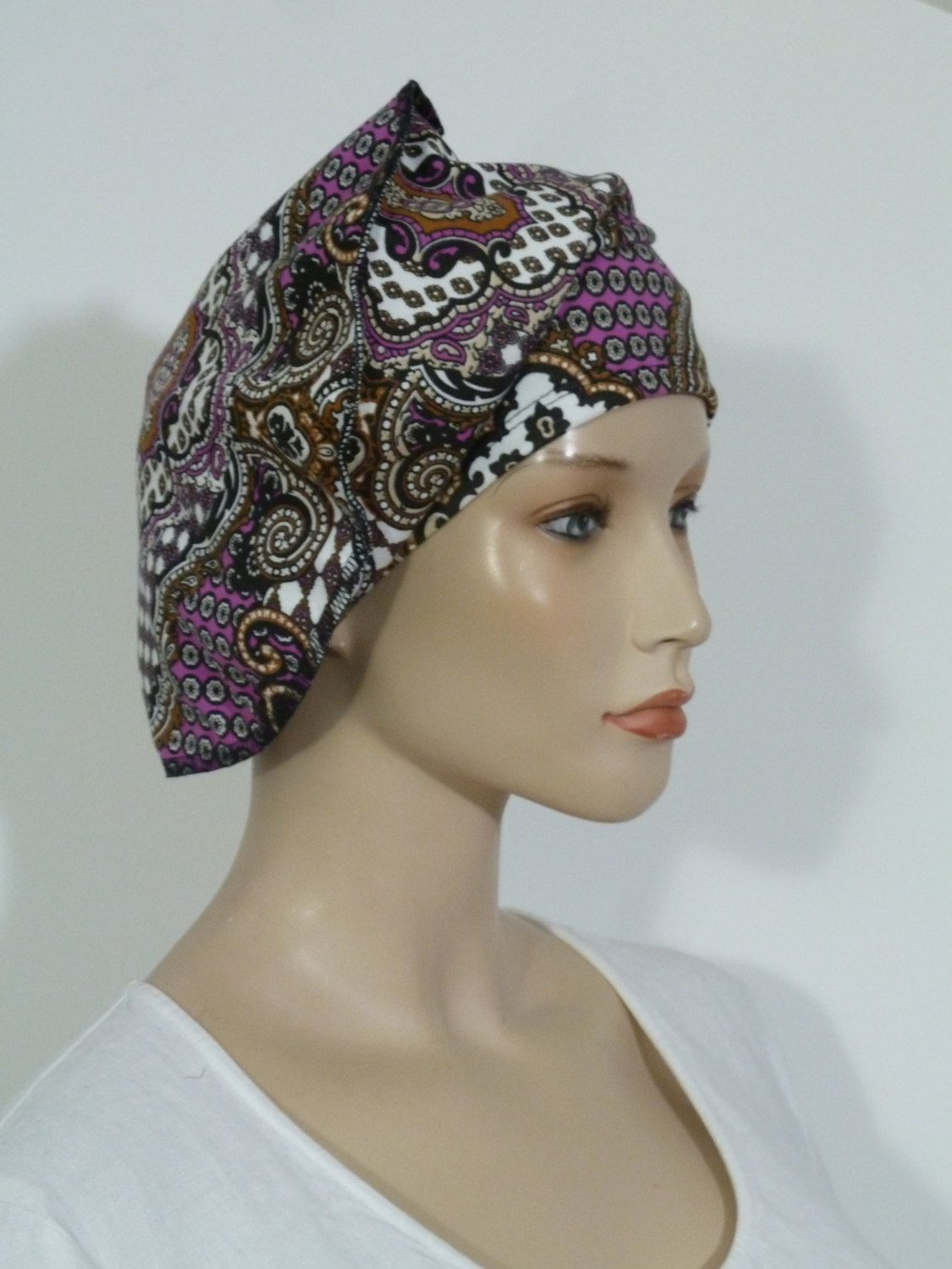 dc8317cd801 Fearlessly stylish high quality multi coloured vintage paisley print jersey  slouchy beanie hat ( ideal chemo hat) by whitebagheera on Etsy